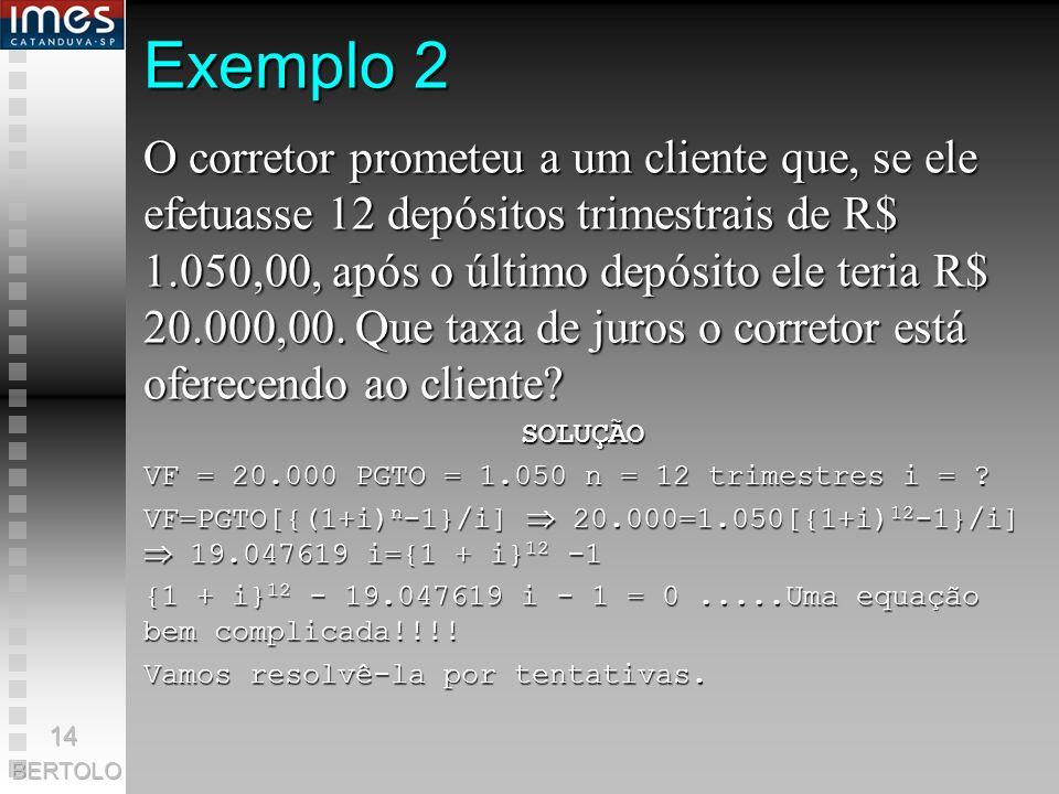 Solução PGTO = ? i = 10% a.a. n = 50 anos VF = 500.000 Pela FÓRMULA: VF = PGTO[{(1+i) n -1}/i] 500.000=PGTO[{(1+0,10) 50 -1}/0,10] 500.000 = PGTO[{1,1