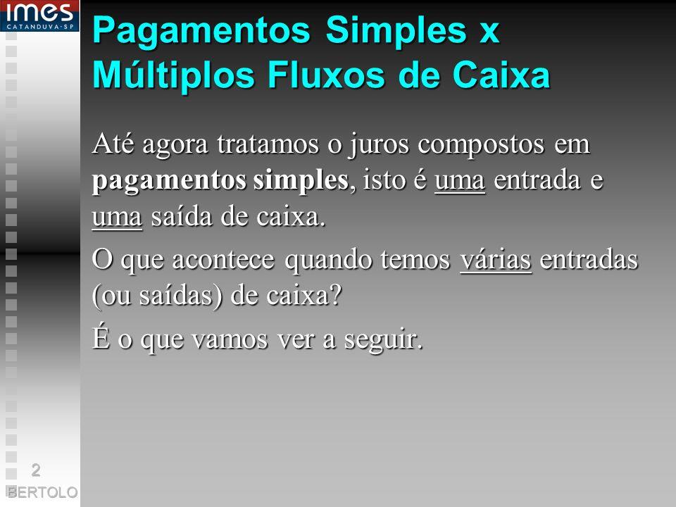 Pagamentos Simples x Múltiplos Fluxos de Caixa Até agora tratamos o juros compostos em pagamentos simples, simples, isto é uma uma entrada e saída de caixa.