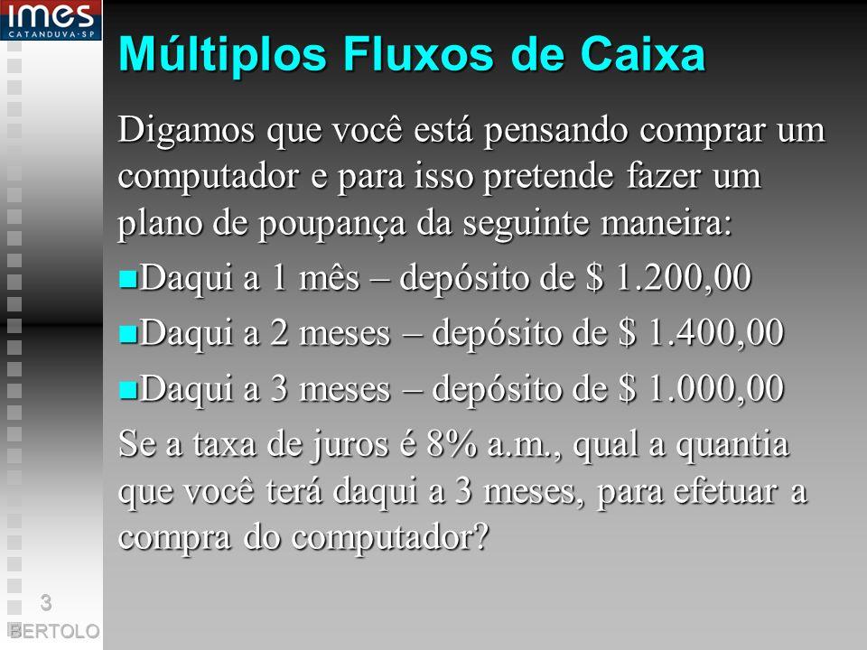 Pagamentos Simples x Múltiplos Fluxos de Caixa Até agora tratamos o juros compostos em pagamentos simples, simples, isto é uma uma entrada e saída de