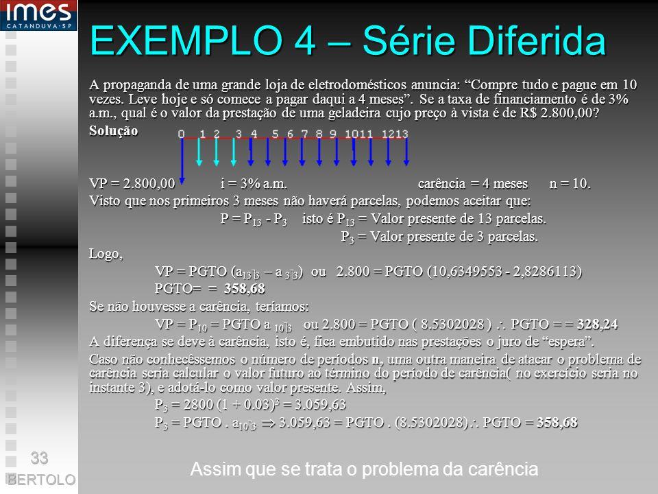 EXEMPLO 3 Qual é a taxa mensal de um financiamento de R$ 13.500,00 a ser pago em 12 prestações de R$ 1.800,00? Solução VP = 13.500,00PGTO = 1.800,00n