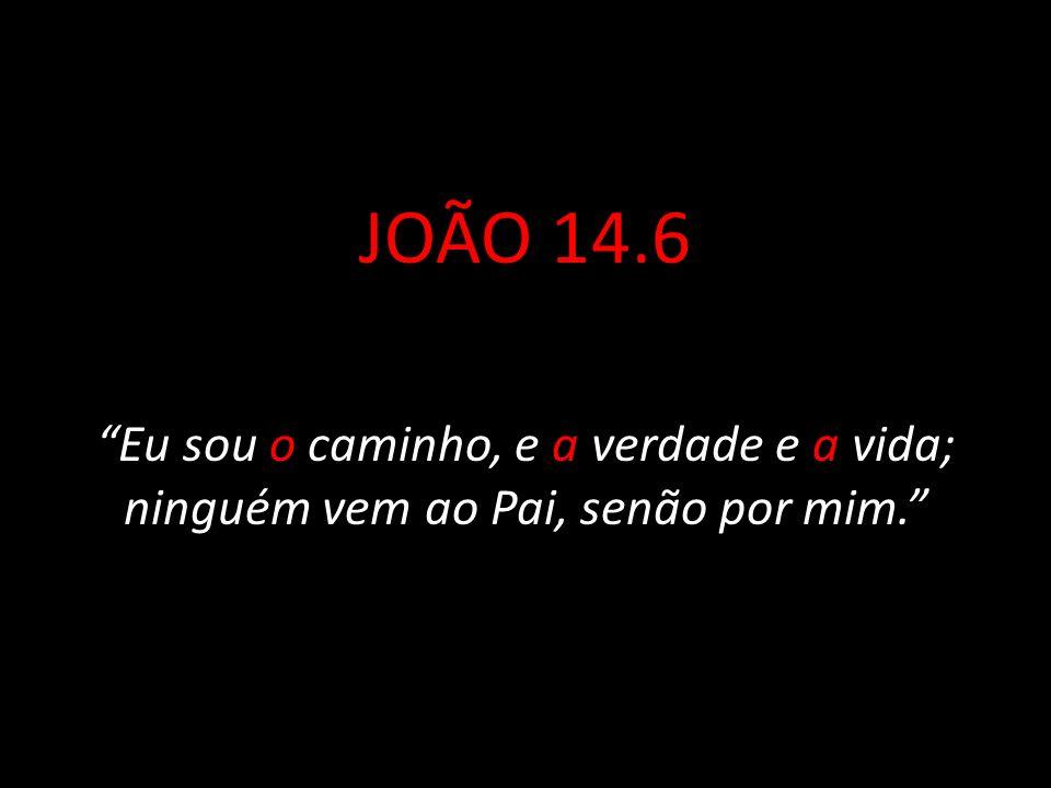 JOÃO 14.6 Eu sou o caminho, e a verdade e a vida; ninguém vem ao Pai, senão por mim.