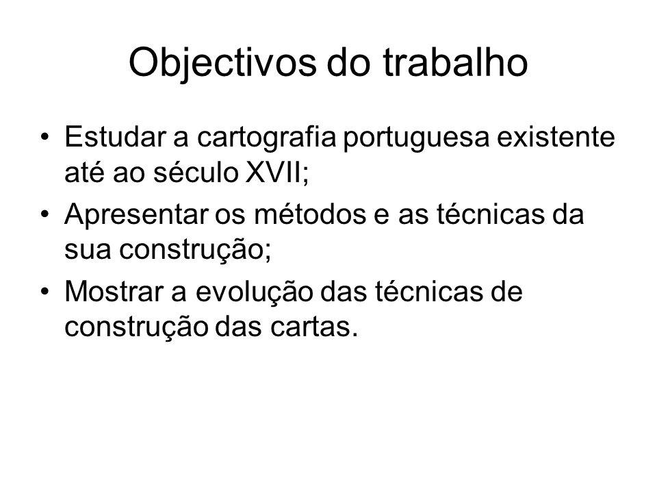 Objectivos do trabalho Estudar a cartografia portuguesa existente até ao século XVII; Apresentar os métodos e as técnicas da sua construção; Mostrar a
