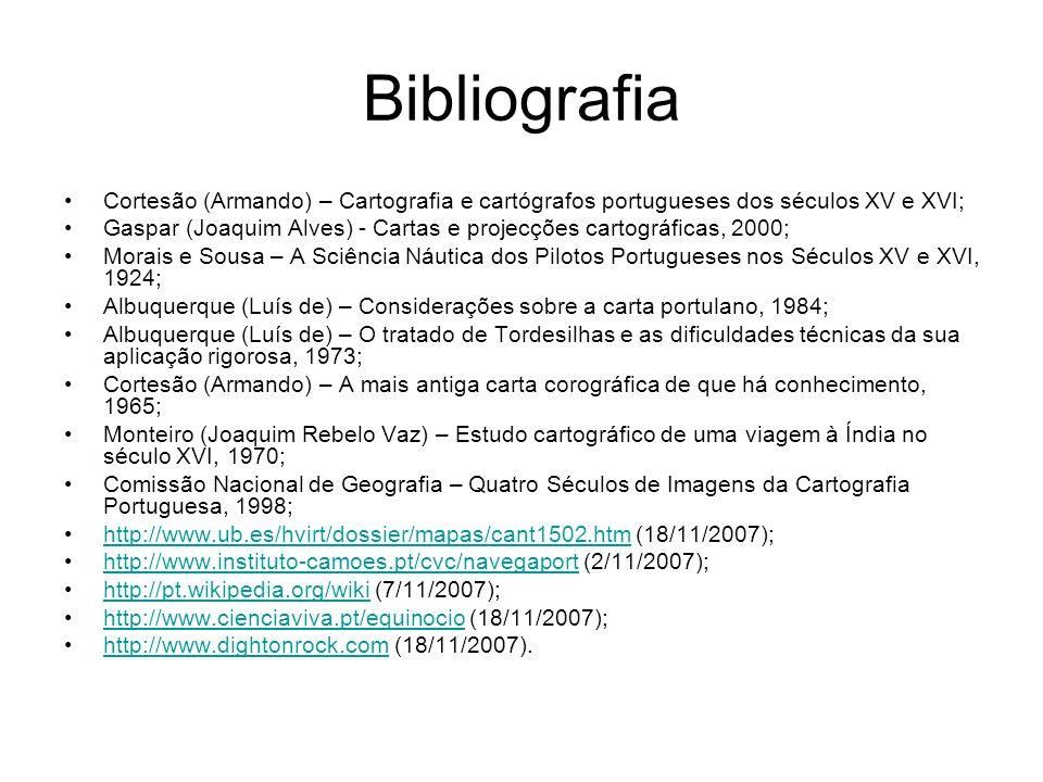 Bibliografia Cortesão (Armando) – Cartografia e cartógrafos portugueses dos séculos XV e XVI; Gaspar (Joaquim Alves) - Cartas e projecções cartográfic