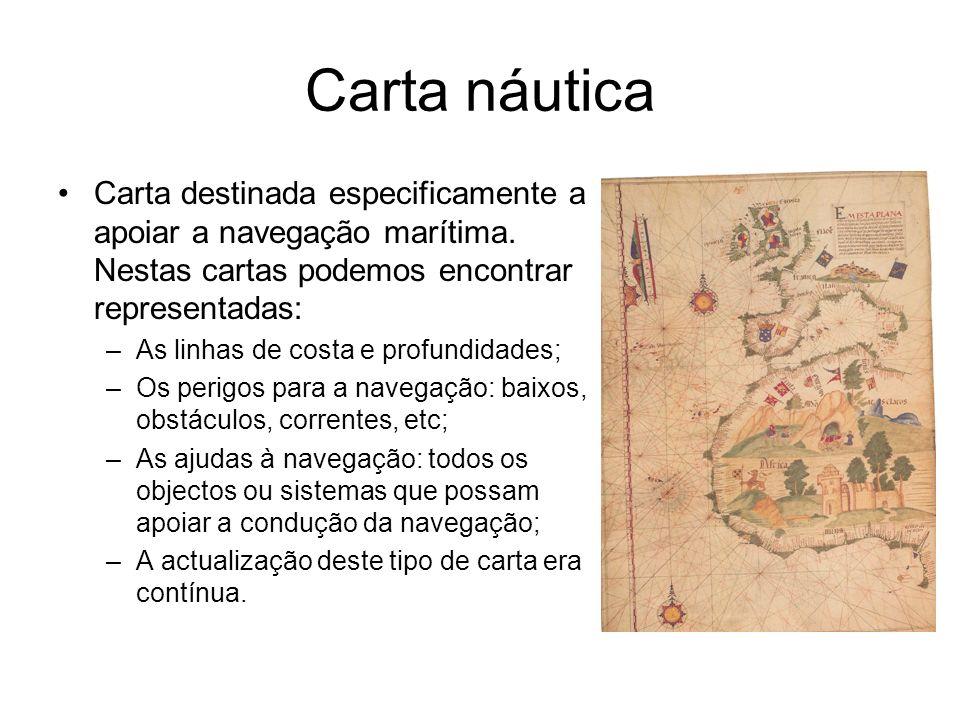 Carta náutica Carta destinada especificamente a apoiar a navegação marítima. Nestas cartas podemos encontrar representadas: –As linhas de costa e prof