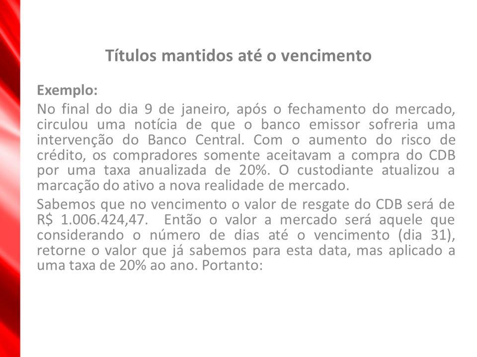 Títulos mantidos até o vencimento Exemplo: No final do dia 9 de janeiro, após o fechamento do mercado, circulou uma notícia de que o banco emissor sof