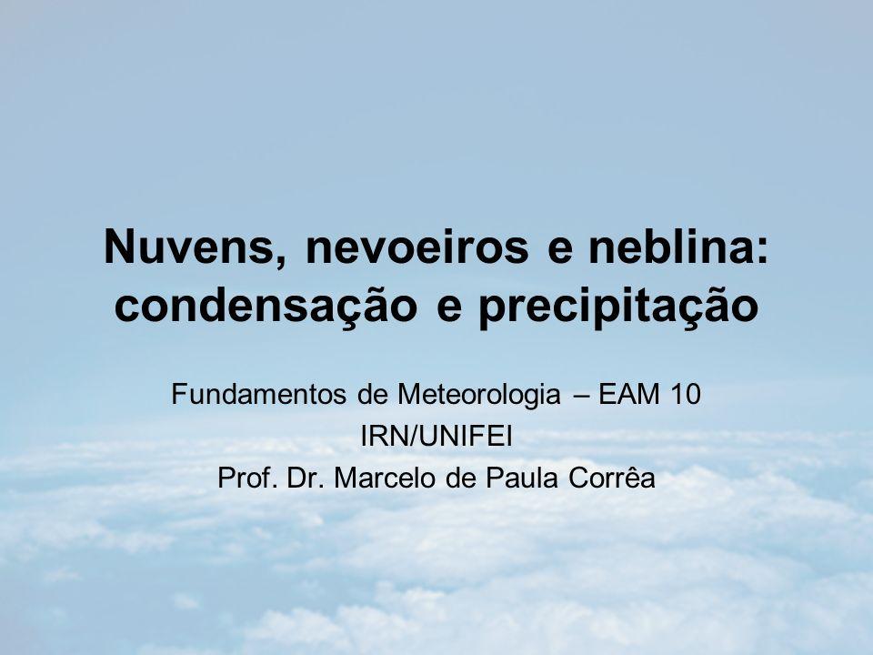 Núcleos de condensação Classificação –Núcleos de condensação de nuvens Ativos em temperaturas tanto acima como abaixo da temperatura de congelamento.