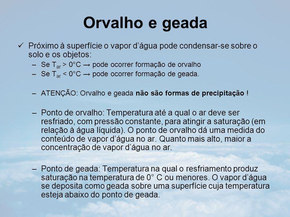 Orvalho e geada Próximo à superfície o vapor dágua pode condensar-se sobre o solo e os objetos: –Se T ar > 0°C pode ocorrer formação de orvalho –Se T ar < 0°C pode ocorrer formação de geada.