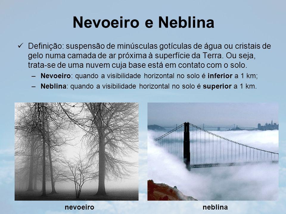 Nevoeiro e Neblina Definição: suspensão de minúsculas gotículas de água ou cristais de gelo numa camada de ar próxima à superfície da Terra.