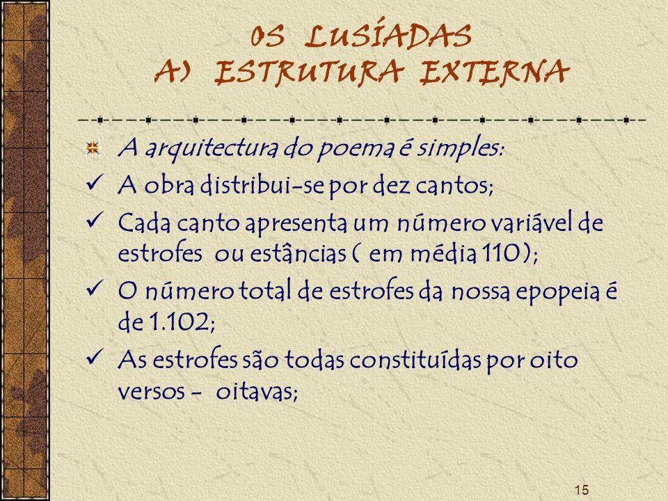 15 OS LUSÍADAS A) ESTRUTURA EXTERNA A arquitectura do poema é simples: A obra distribui-se por dez cantos; Cada canto apresenta um número variável de estrofes ou estâncias ( em média 110); O número total de estrofes da nossa epopeia é de 1.102; As estrofes são todas constituídas por oito versos - oitavas;