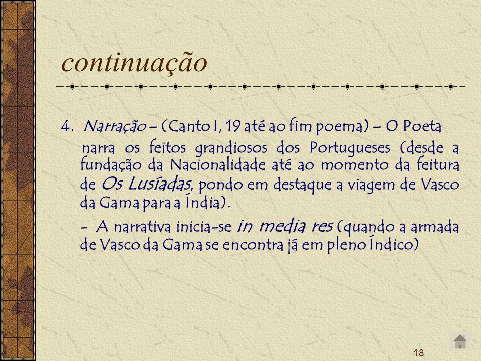 18 continuação 4. Narração – (Canto I, 19 até ao fim poema) – O Poeta narra os feitos grandiosos dos Portugueses (desde a fundação da Nacionalidade at
