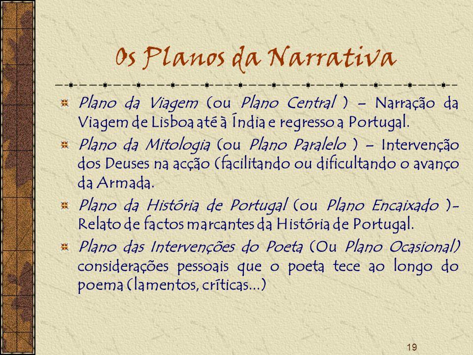 19 Os Planos da Narrativa Plano da Viagem (ou Plano Central ) – Narração da Viagem de Lisboa até à Índia e regresso a Portugal. Plano da Mitologia (ou