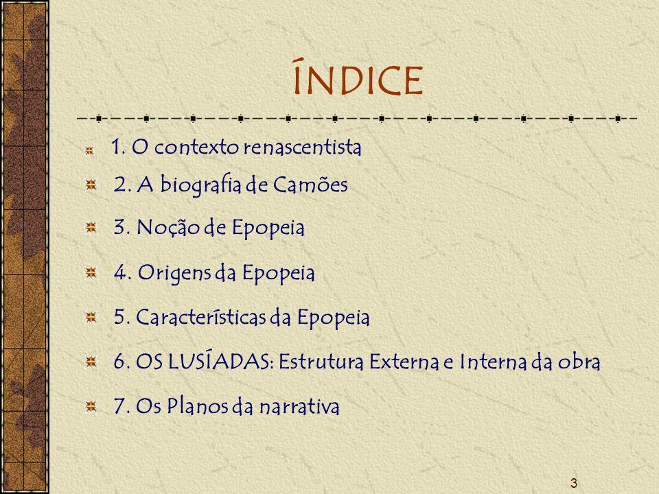 3 ÍNDICE 1.O contexto renascentista 2. A biografia de Camões 3.