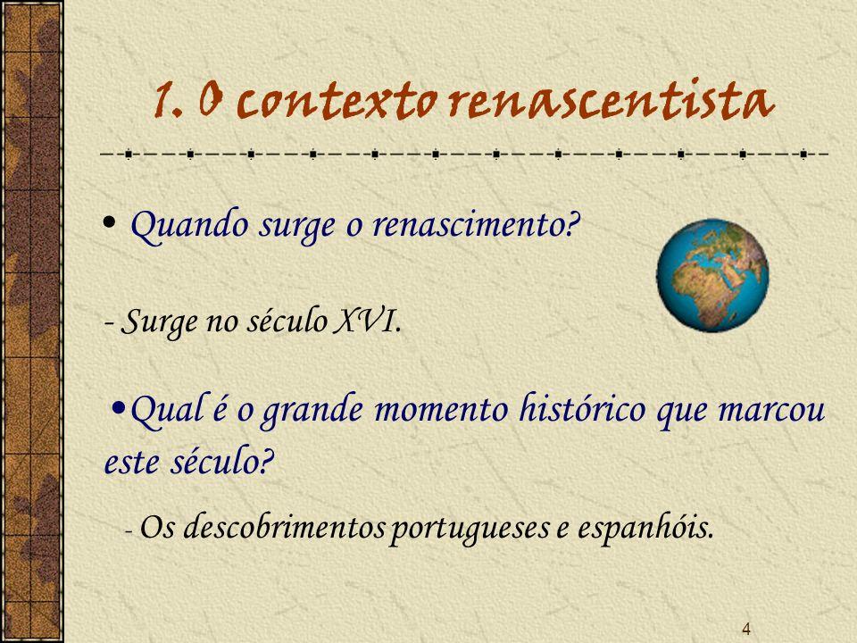 4 1. O contexto renascentista Q uando surge o renascimento? - Surge no século XVI. Qual é o grande momento histórico que marcou este século? - Os desc