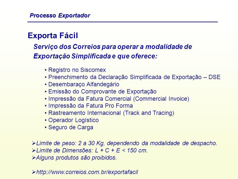Exporta Fácil Registro no Siscomex Preenchimento da Declaração Simplificada de Exportação – DSE Desembaraço Alfandegário Emissão do Comprovante de Exp