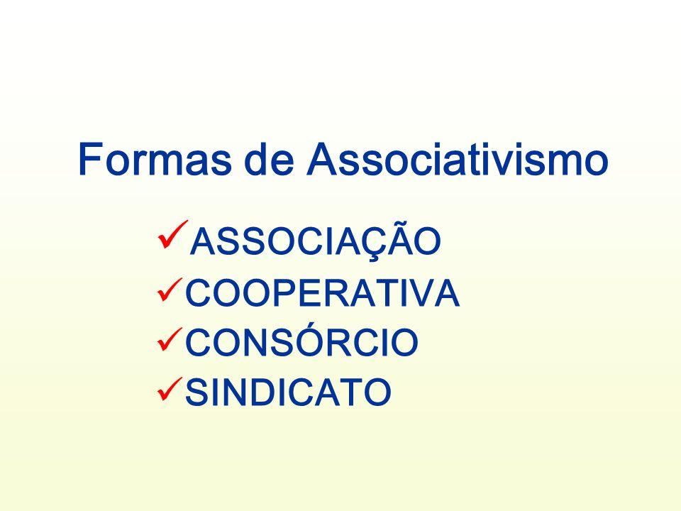 Formas de Associativismo ASSOCIAÇÃO COOPERATIVA CONSÓRCIO SINDICATO