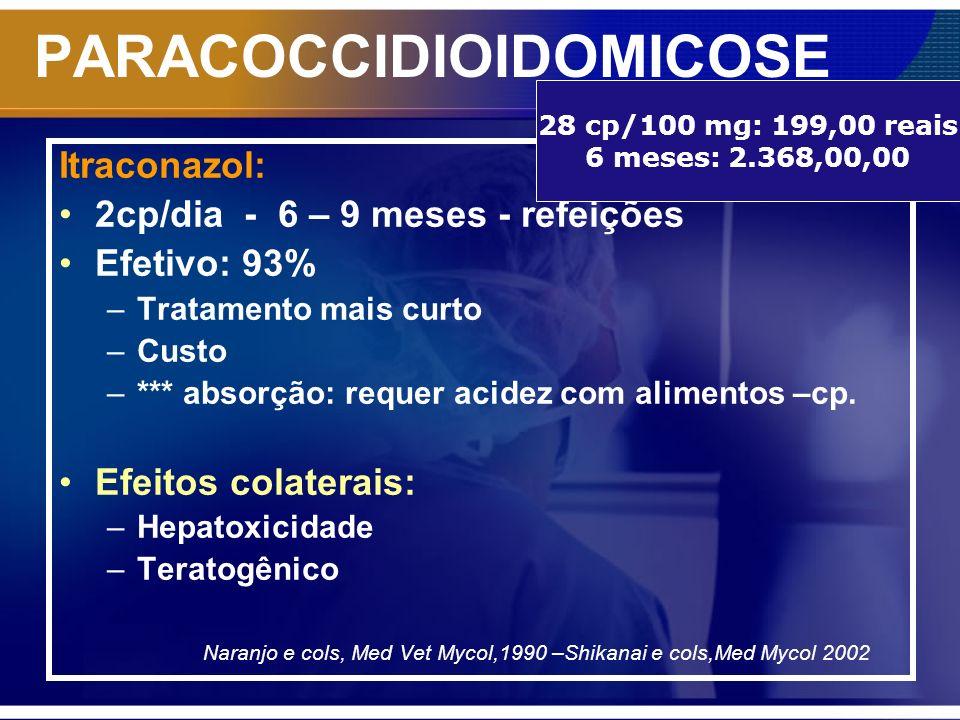 PARACOCCIDIOIDOMICOSE Itraconazol: 2cp/dia - 6 – 9 meses - refeições Efetivo: 93% –Tratamento mais curto –Custo –*** absorção: requer acidez com alime