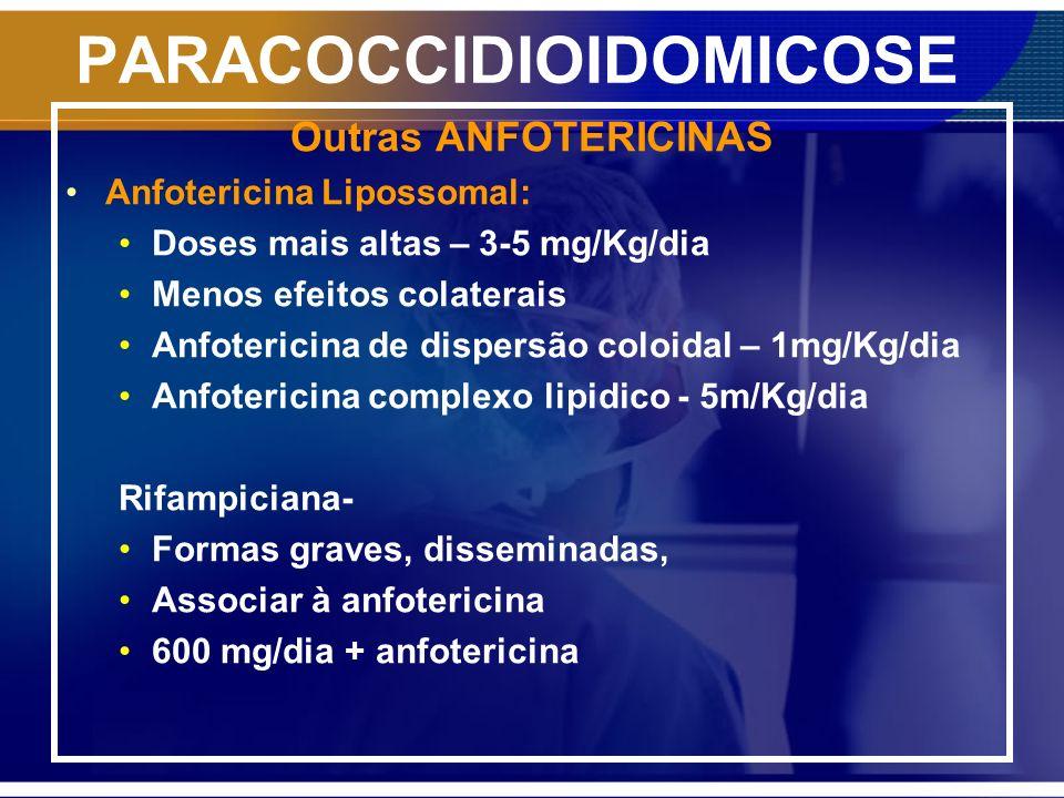 PARACOCCIDIOIDOMICOSE Outras ANFOTERICINAS Anfotericina Lipossomal: Doses mais altas – 3-5 mg/Kg/dia Menos efeitos colaterais Anfotericina de dispersã