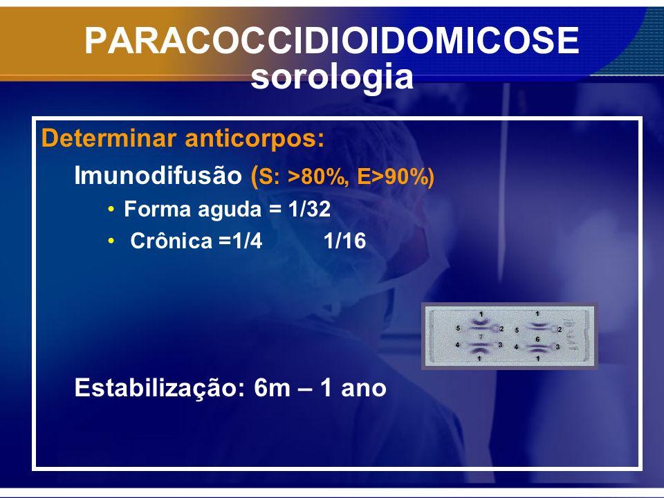 PARACOCCIDIOIDOMICOSE sorologia Determinar anticorpos: Imunodifusão ( S: >80%, E>90%) Forma aguda = 1/32 Crônica =1/4 1/16 Estabilização: 6m – 1 ano