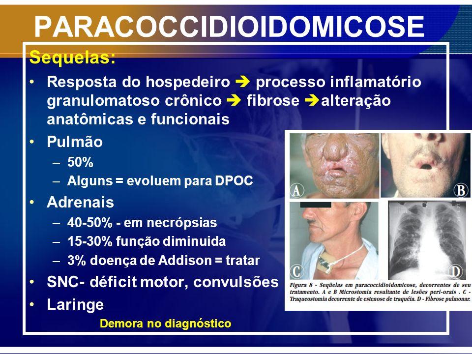 PARACOCCIDIOIDOMICOSE Sequelas: Resposta do hospedeiro processo inflamatório granulomatoso crônico fibrose alteração anatômicas e funcionais Pulmão –5