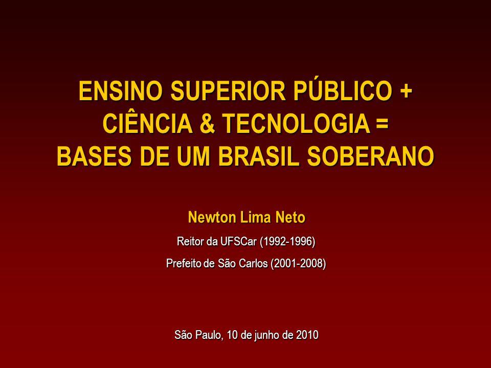 ENSINO SUPERIOR PÚBLICO + CIÊNCIA & TECNOLOGIA = BASES DE UM BRASIL SOBERANO Newton Lima Neto Reitor da UFSCar (1992-1996) Prefeito de São Carlos (2001-2008) São Paulo, 10 de junho de 2010