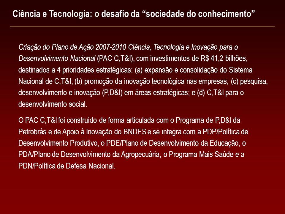 Criação do Plano de Ação 2007-2010 Ciência, Tecnologia e Inovação para o Desenvolvimento Nacional (PAC C,T&I), com investimentos de R$ 41,2 bilhões, d