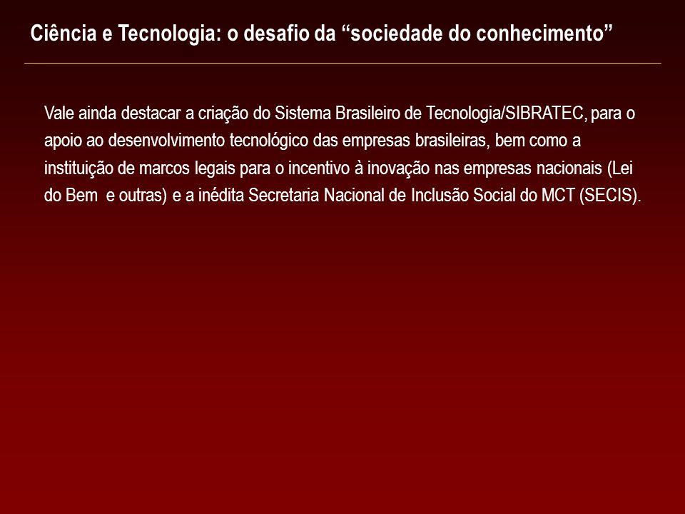 Vale ainda destacar a criação do Sistema Brasileiro de Tecnologia/SIBRATEC, para o apoio ao desenvolvimento tecnológico das empresas brasileiras, bem como a instituição de marcos legais para o incentivo à inovação nas empresas nacionais (Lei do Bem e outras) e a inédita Secretaria Nacional de Inclusão Social do MCT (SECIS).