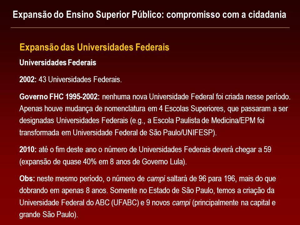 Universidades Federais 2002: 43 Universidades Federais. Governo FHC 1995-2002: nenhuma nova Universidade Federal foi criada nesse período. Apenas houv