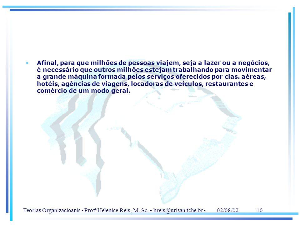 Teorias Organizacioanis - Profª Helenice Reis, M. Sc. - hreis@urisan.tche.br - 02/08/02 10 Afinal, para que milhões de pessoas viajem, seja a lazer ou