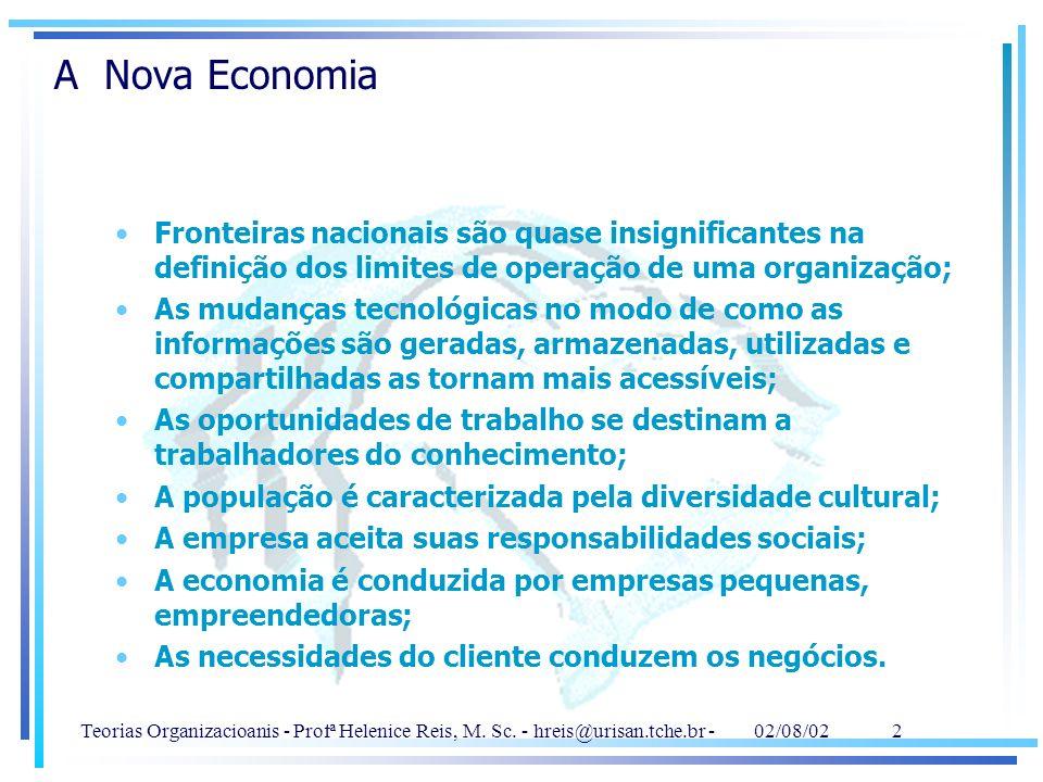 Teorias Organizacioanis - Profª Helenice Reis, M. Sc. - hreis@urisan.tche.br - 02/08/02 2 A Nova Economia Fronteiras nacionais são quase insignificant