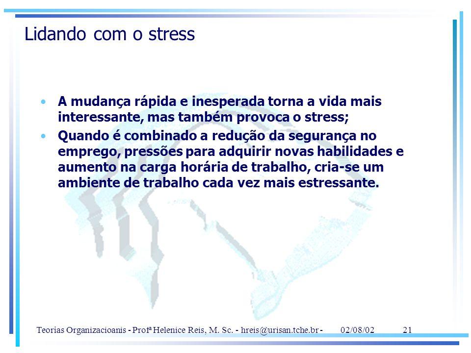 Teorias Organizacioanis - Profª Helenice Reis, M. Sc. - hreis@urisan.tche.br - 02/08/02 21 Lidando com o stress A mudança rápida e inesperada torna a
