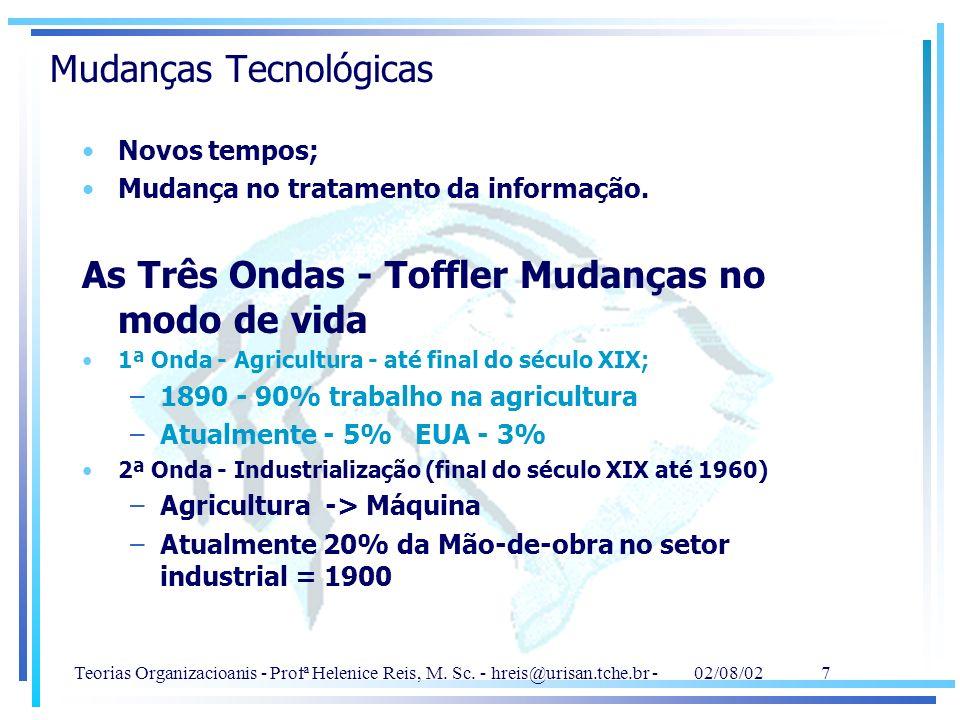 Teorias Organizacioanis - Profª Helenice Reis, M. Sc. - hreis@urisan.tche.br - 02/08/02 7 Mudanças Tecnológicas Novos tempos; Mudança no tratamento da