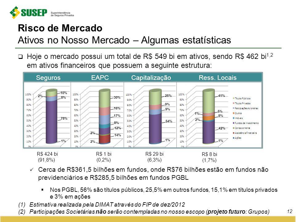 Risco de Mercado Ativos no Nosso Mercado – Algumas estatísticas 12 (1)Estimativa realizada pela DIMAT através do FIP de dez/2012 (2)Participações Soci
