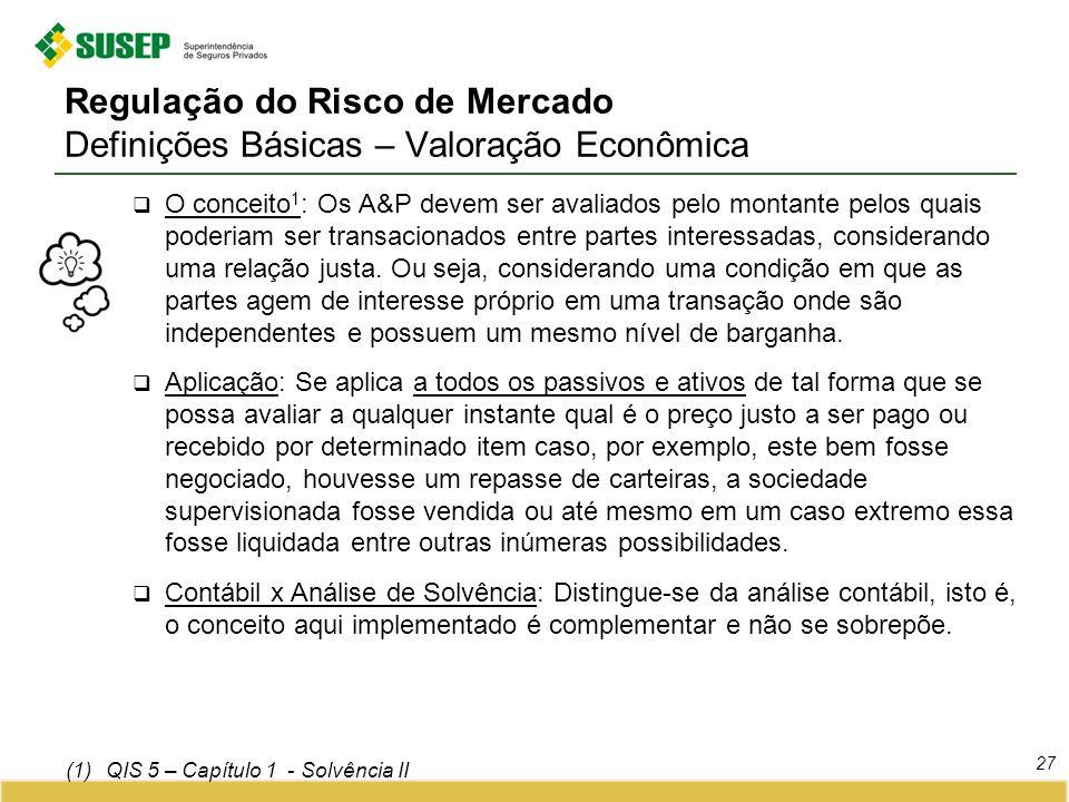 Regulação do Risco de Mercado Definições Básicas – Valoração Econômica 27 O conceito 1 : Os A&P devem ser avaliados pelo montante pelos quais poderiam