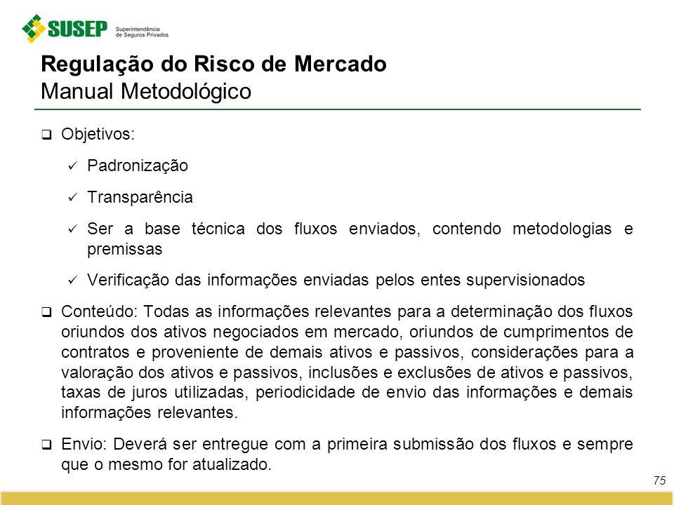 Regulação do Risco de Mercado Manual Metodológico Objetivos: Padronização Transparência Ser a base técnica dos fluxos enviados, contendo metodologias