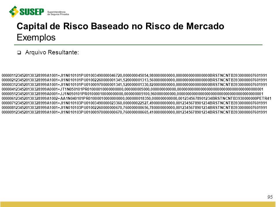 Capital de Risco Baseado no Risco de Mercado Exemplos Arquivo Resultante: 0000011234520130328999A1001+JI1N010101PU01003490000046720,000000045054,98000