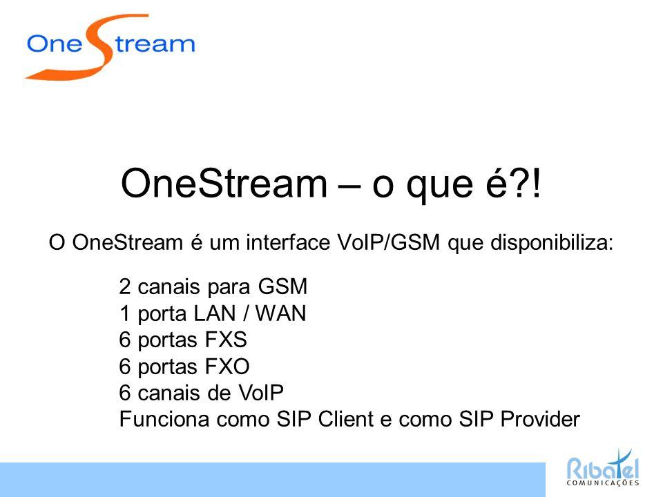 OneStream – o que é?! O OneStream é um interface VoIP/GSM que disponibiliza: 2 canais para GSM 1 porta LAN / WAN 6 portas FXS 6 portas FXO 6 canais de