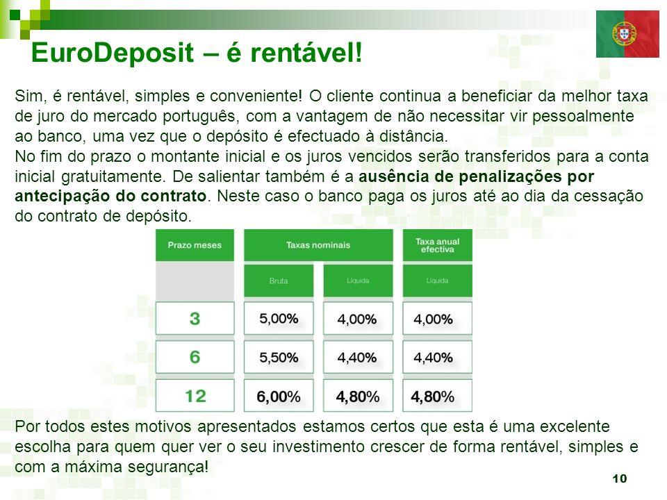 10 EuroDeposit – é rentável! Sim, é rentável, simples e conveniente! O cliente continua a beneficiar da melhor taxa de juro do mercado português, com