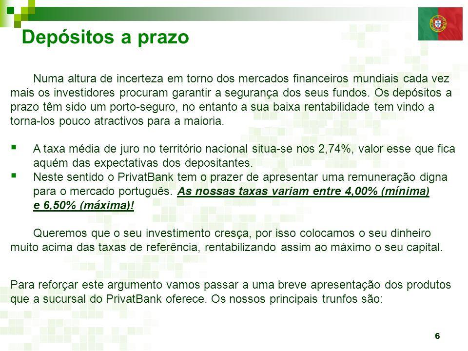 7 Depósito a prazo (CAPITAL GARANTIDO) Prazo do depósito: de 1 mês a 3 anos.
