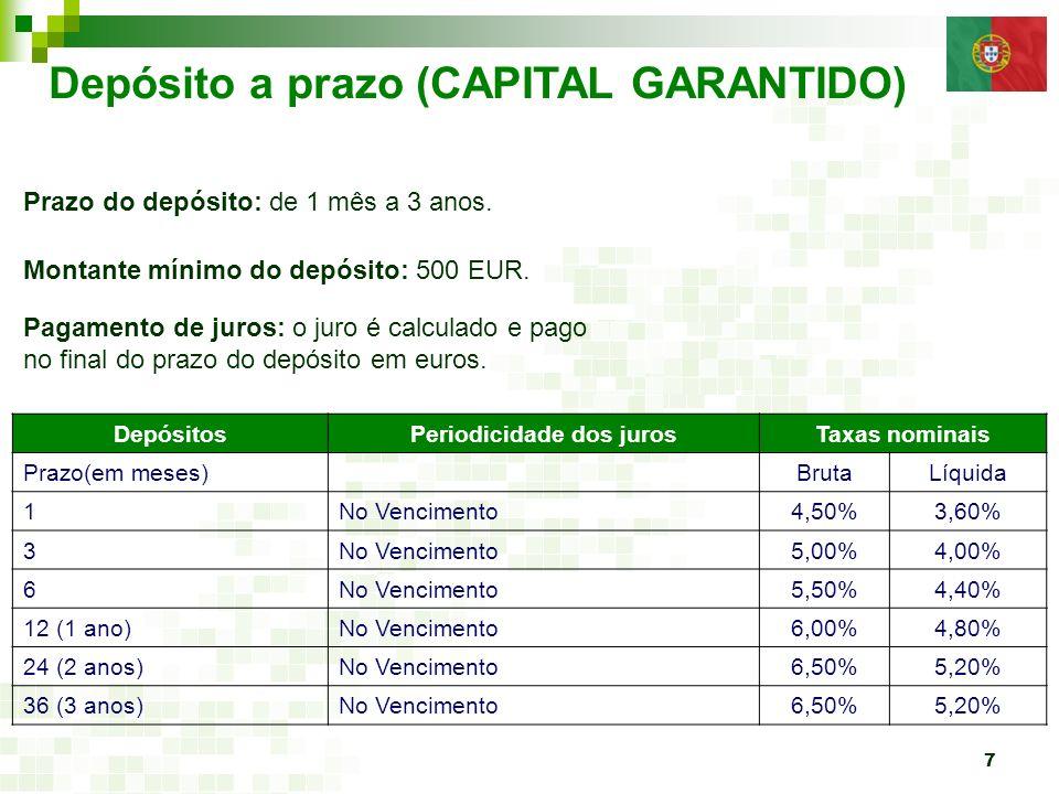 7 Depósito a prazo (CAPITAL GARANTIDO) Prazo do depósito: de 1 mês a 3 anos. Montante mínimo do depósito: 500 EUR. Pagamento de juros: o juro é calcul