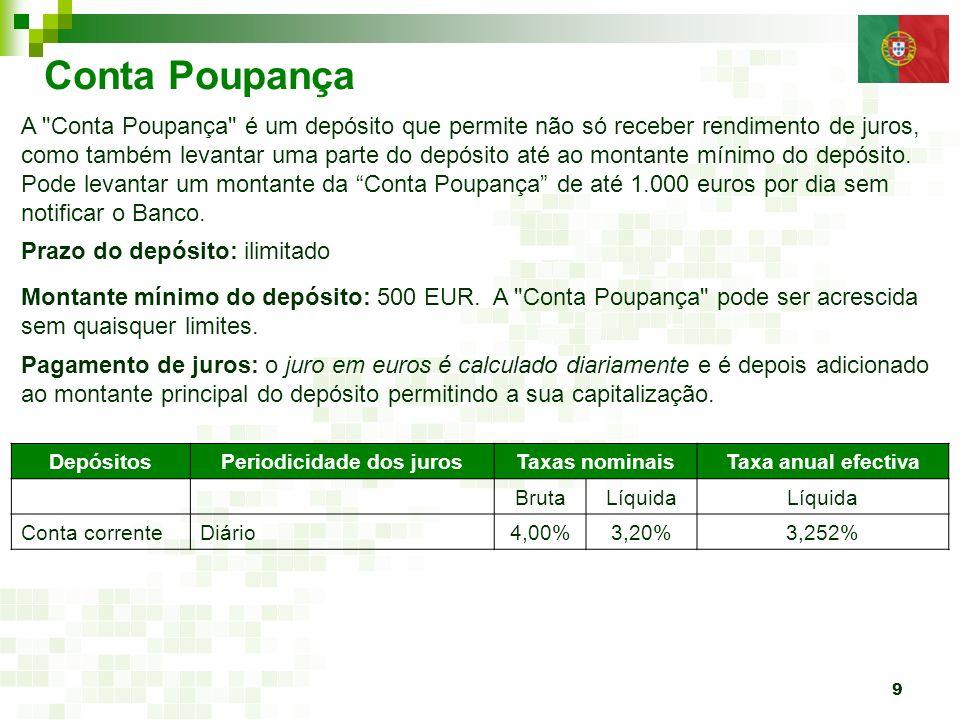 9 Conta Poupança Prazo do depósito: ilimitado Montante mínimo do depósito: 500 EUR. A
