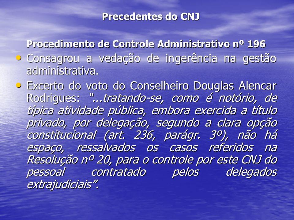 Precedentes do CNJ Procedimento de Controle Administrativo nº 196 Consagrou a vedação de ingerência na gestão administrativa. Consagrou a vedação de i