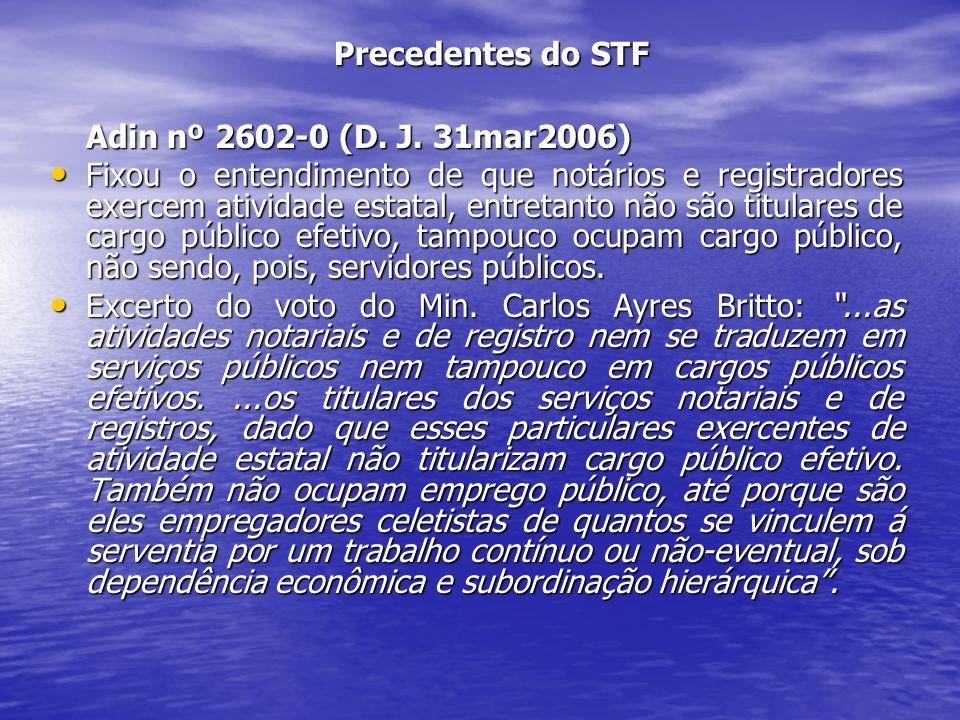 Precedentes do STF Adin nº 2602-0 (D. J. 31mar2006) Fixou o entendimento de que notários e registradores exercem atividade estatal, entretanto não são
