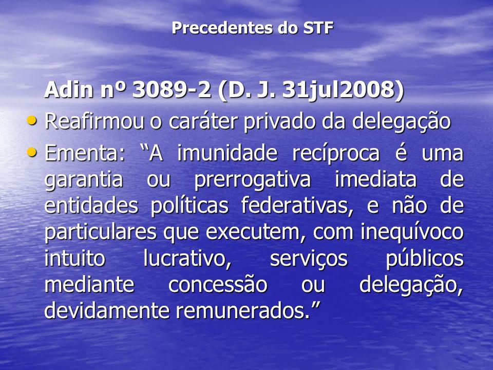 Precedentes do STF Adin nº 3089-2 (D. J. 31jul2008) Reafirmou o caráter privado da delegação Reafirmou o caráter privado da delegação Ementa: A imunid