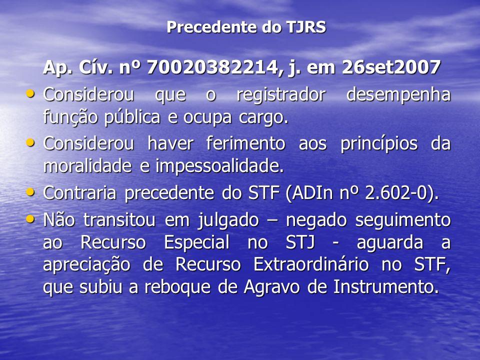 Precedente do TJRS Ap. Cív. nº 70020382214, j. em 26set2007 Considerou que o registrador desempenha função pública e ocupa cargo. Considerou que o reg