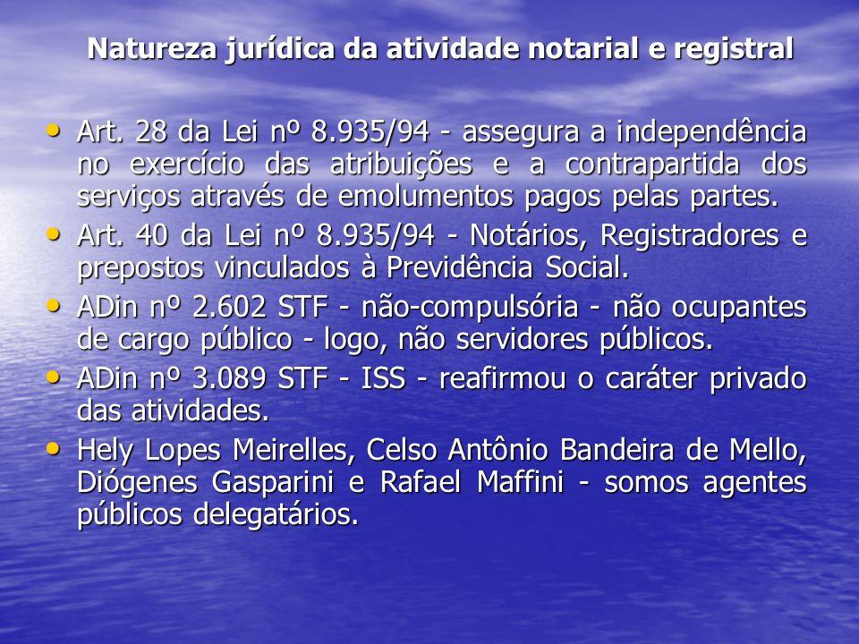 Natureza jurídica da atividade notarial e registral Art. 28 da Lei nº 8.935/94 - assegura a independência no exercício das atribuições e a contraparti