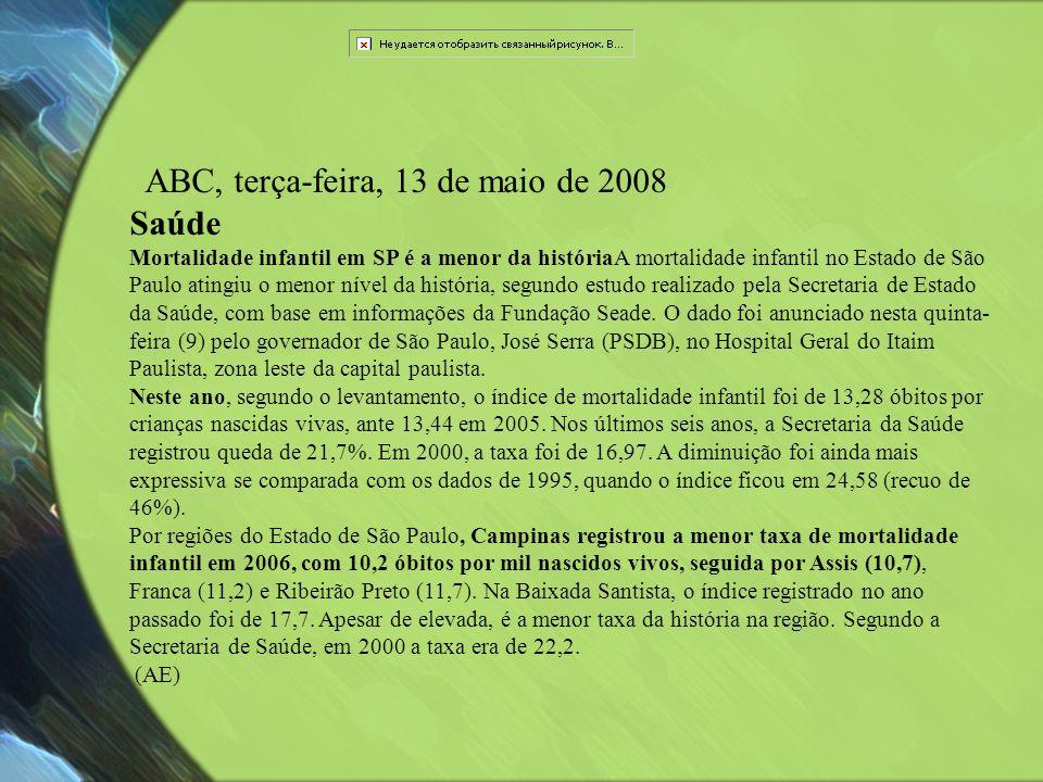 ABC, terça-feira, 13 de maio de 2008 Saúde Mortalidade infantil em SP é a menor da históriaA mortalidade infantil no Estado de São Paulo atingiu o men