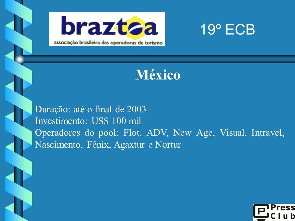 México Duração: até o final de 2003 Investimento: US$ 100 mil Operadores do pool: Flot, ADV, New Age, Visual, Intravel, Nascimento, Fênix, Agaxtur e N