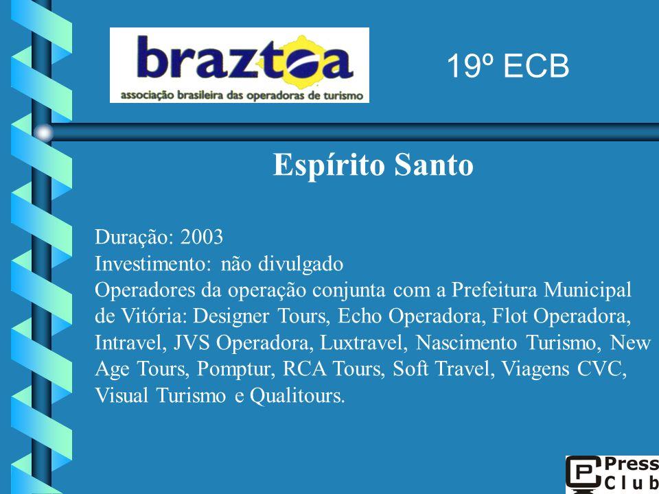 Espírito Santo Duração: 2003 Investimento: não divulgado Operadores da operação conjunta com a Prefeitura Municipal de Vitória: Designer Tours, Echo O