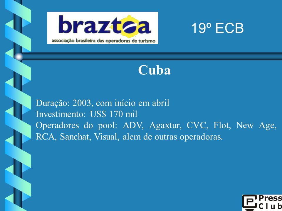Cuba Duração: 2003, com início em abril Investimento: US$ 170 mil Operadores do pool: ADV, Agaxtur, CVC, Flot, New Age, RCA, Sanchat, Visual, alem de