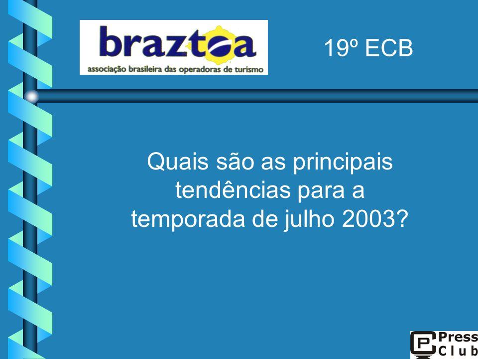 Quais são as principais tendências para a temporada de julho 2003? 19º ECB